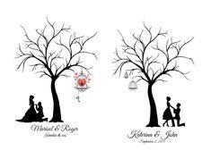 modèle d'arbre à empreintes à imprimer avec un arbre vierge décoré de cage oiseaux et couple de jeunes mariés au-dessous des branches