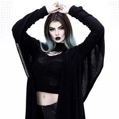 The most enchanting cardigan from by ❤️🌹 Black Lipstick, Dark Fashion, Gothic Fashion, Goth Women, Goth Aesthetic, Dope Outfits, Cloth Bags, Goth Girls, Fashion Models