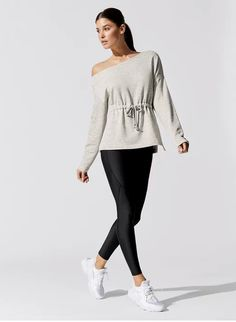 Give them the cold shoulder. The Drop Shoulder French Terry Sweatshirt from is an oversized pullover top with an asymmetrical neckline and an adjustable drawstring waistband. Cut from lightweight fleece, this unlined top is made for ease in styli Ballet, Lace Print, Short Jumpsuit, Knit Leggings, French Terry, Long Sleeve Tops, Tunic Tops, Sweatshirts, Hoodies