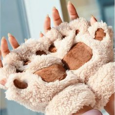 Super kawaii bear plush mittens for keeping warm in those cold winter months.