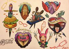 Bob's Burgers tattoo flash <3 | by Bootattoo89 on Etsy