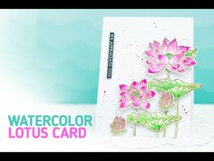 Watercolor Thank You Card using Gold Embossed Lotus (Watercoloring with different mediums) - YouTube