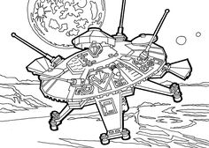 Lego UFO coloring page for girls, printable free. Lego space | coloing-4kids.com