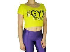 Blusas Femininas | Blusa Cropped Costas Rasgadas # Gym Fitness Amarela  Acesse: http://www.spbolsas.com.br/atacado/ #Regatas #Femininas #Atacado