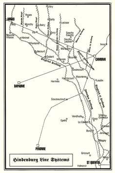 hindenburg linie of siegfried stellung - De linie liep ongeveer vanaf Arras (Frans), Cambrai (Duits), St Quentin (Duits), onder Laon (Duits) door naar de Chemin des Dames. Serre, Bapaune en Peronne werden weer Frans maar waren totaal verwoest.