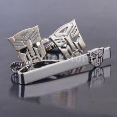 cuff links & tie clips for Men | Men Silver Toned Transformer Autobot Cufflinks And Tie Clasp Clip Bar ...