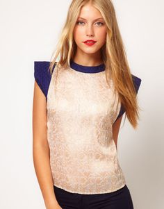 Jacquard Top With Contrast Quilted Sleeve