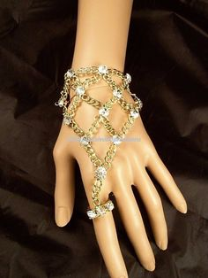 RHINESTONE GOLD CHAIN LINK RING TO WRIST HAND SLAVE BRACELET ADJUSTABLE HARNESS…