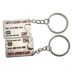 Sale 19% (1.5$) - Lovely Bank Card Alloy Key Chain Credit Card Lovers Key Ring