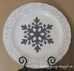 Vinyl Snowflake on Plate