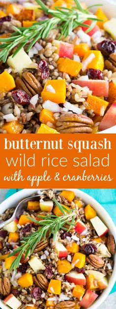 An easy, delicious holiday side dish or make ahead lunch. You will make this Roasted Butternut Squash Wild Rice Salad with Apple, Cranberries and apple cider dressing again and again! | http://www.kristineskitchenblog.com