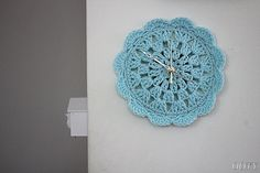 clock aqua baby blue chrochet doily clock for home, round clock, home decor via Etsy