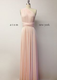 Buy Now Blush Pink LONG Floor Length Ball Gown Maxi Infinity Dress Convertible Formal Multiway Wrap Evening Dress Bridesmaid Dress Weddings Prom by AtomAttire. Silver Evening Gowns, Pink Evening Dress, Long Formal Gowns, Formal Evening Dresses, Dress Formal, Ball Dresses, Ball Gowns, Blush Rosa, Peach Blush