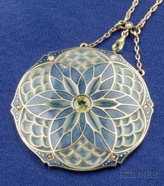 Art Nouveau Plique-a-jour Enamel and Peridot Pendant