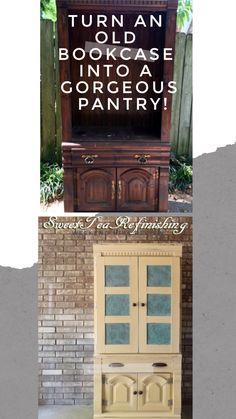 Repurposed Furniture Diy, Painting Furniture Diy, Furniture Makeover, Built In Pantry, Painted Furniture For Sale, Upcycle Decor, Diy Furniture Projects, Bookcase Makeover, Old Bookcase