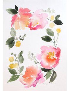 10 x 14 Floral Kranz Aquarell Malerei von YaoChengDesign auf Etsy