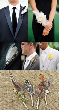 Feather boutonnieres - the bottom pic! Burlap for rustic feel