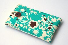 IPhone Case Fabric, MP3 Holder, IPod Accessories, Fabric Cell Phone Pouch, Teal Flowers, Brown
