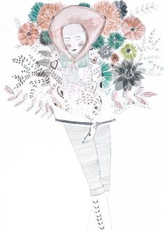 Archival Print Illustration of Girl with Blooms