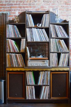 record collection and turntable. #records #vinyl #recordcollection #music http://www.pinterest.com/TheHitman14/for-the-record/