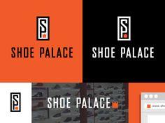 Shoe Palace - Logo Design - Branding, Logotype, Monogram, Shoe store, Crown, Black, Orange