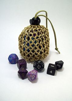 dicebag, chainmaille, pouch, change purse.  DND, dungeons and dragons, dice.