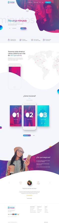 Dribbble - recargaminutos_home.png by Francisco Rendon Clean Web Design, Creative Web Design, Best Web Design, Web Design Trends, Ux Design, Layout Design, Flat Design, Web Mobile, Mobile Web Design