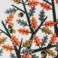 by pui lee, oak, leaves, acorn, nature, pattern, print, fabric, design, colour, autumn, illustration, design, vector