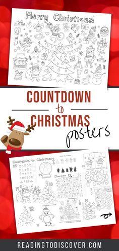 Countdown to Christmas Posters | Reading to Discover Preschool Christmas Activities, Christmas Crafts For Kids, Preschool Crafts, Holiday Crafts, Holiday Fun, Christmas Ideas, Engineer Prints, Busy Book, Christmas Countdown