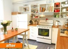 Before & After: A Refreshed and Revamped Kitchen For $1000 | Apartment Therapy- open cabinets