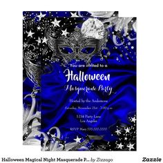 Shop Halloween Magical Night Masquerade Party blue Invitation created by Zizzago.