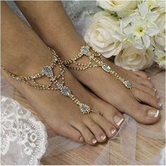 blue barefoot sandals - gold - blue - gold - rhinestone -beach wedding foot jewelry