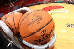 A general view of the ball rack during practice of the 2013 NBA Finals on June 8, 2013 at American Airlines Arena in Miami, Florida.