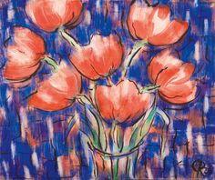 Christian Rohlfs: Rote Tulpen, 1926, Wassertempera und Tusche auf Papier