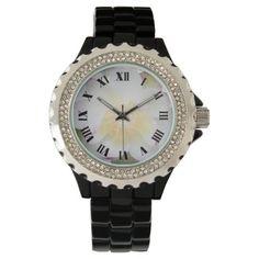 White lotus flower roman wrist watch