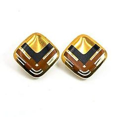 Avon Earrings Gold Brown Black Ceramic Clip Ons PORCELAIN EXPRESSIONS 1987  | eBay Vintage Costume Jewelry, Vintage Costumes, Vintage Jewelry, Vintage Earrings, Clip On Earrings, Gold Earrings, Vintage Avon, Selling Jewelry, Jewelry Branding