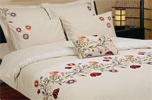 A beautiful embroidered 7 piece duvet cover set. Multi-color embroidered and printed on both front and reverse sides. Cotton Sheets, Duvet Cover Sets, Printed, Bed, Furniture, Beautiful, Color, Home Decor, Decoration Home