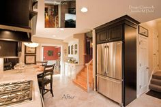 Kitchen remodel in Sylvania, Ohio. Designed by Jennifer M. Diehl of Design Classics LLC in Toledo, Ohio. Fieldstone Cabinetry Concord door style in Cherry finished in Java.