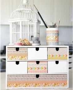 idée que faire avec du masking tape, meuble de rangement décoré avec du papier washi, idée comment customiser un meuble