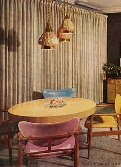 Home Decor | 1950s| Modern Dining Room using pastels & atomic-style design