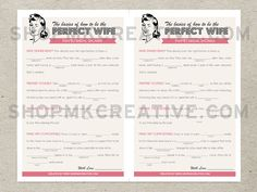 Personalized Bridal Shower Game : Mad Libs by MKCreativeStore