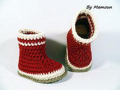 Bottes de pluie bébé en laine 3 mois entièrement crochetées