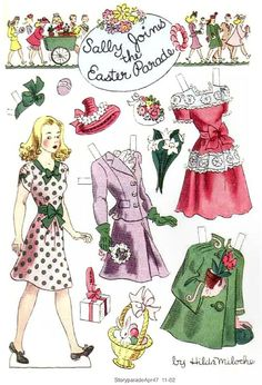 SALLY JOINS THE EASTER PARADE Story Parade April 1947 Hilda Miloche paper dolls