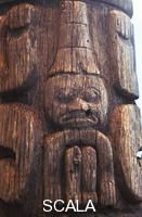 ******** Totem Pole Close Up. Weathered Haida totem pole taken from the Queen Charlotte Islands on display at the UBC Museum of Anthropology in Vancouver BC Canada