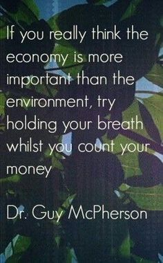 Without the sense of pure clean air how can one breathe! If you want things in life/economy than pay It Forward to learn how you can make a difference to the environment you live in!