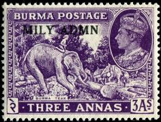 Stamp: Asian Elephant (Elephas maximus) with Mahout doing Woodwork (Myanmar (Burma)) Definitives) Mi:MM 26 Rare Stamps, Buy Stamps, Vintage Stamps, Ghibli, Laos, Timor Oriental, Elephas Maximus, Asian Elephant, King George