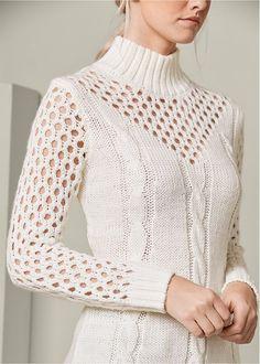 Open Knit Turtleneck from VENUS women's swimwear and sexy clothing. Order Open Knit Turtleneck for women from the online catalog or Crochet Top Outfit, Black Crochet Dress, Crochet Shirt, Crochet Clothes, Knit Dress, Knit Crochet, Knitwear Fashion, Knit Fashion, Colored Skinny Jeans