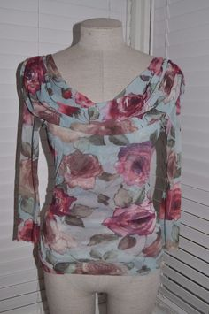 Anthropologie SWEET PEA sz M Rose Floral Off-Shoulder 3/4 Sleeve Blouse Knit Top | Clothing, Shoes & Accessories, Women's Clothing, Tops & Blouses | eBay!