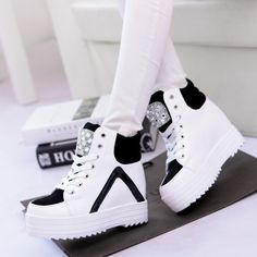 Z Style Womens Platform Hidden Wedge Heels Sneakers High Top Rhinestone Shoes Wedge Heel Sneakers, Sneakers Mode, Sneaker Heels, Sneakers Fashion, High Top Sneakers, Fashion Shoes, Wedge Heels, Fashion Clothes, Lace Up Ankle Boots