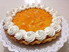 Tarta de durazno con pastelera y Chantilly Receta de Haydee Agreda - Cookpad Birthday Cake, Pie, Meat, Desserts, Food, Pasta, Videos, Logo, Kitchen